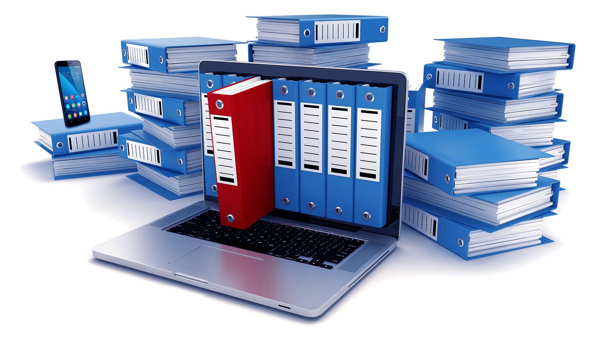 Archiviatori file ad anelli e cartonai che escono da un monitor di notebook e si accatastano in variante di blu: SGA Archiviazione Documenti a Milano e in Lombardia