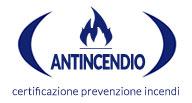 Logo iconografico della Certificazione Antincendio in blu